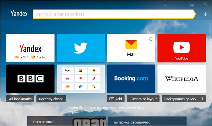 Yandex Browser for Mac full screenshot