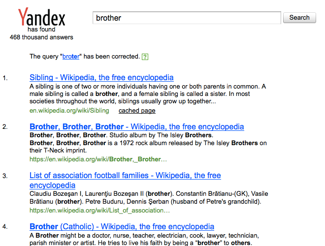 Yandex Site Search corrects typos.