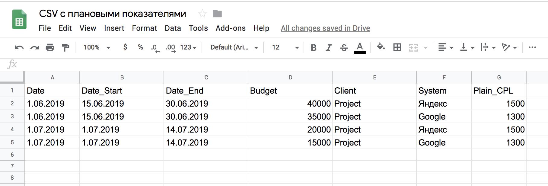 Пример  CSV-файла для переходящего отчетного периода