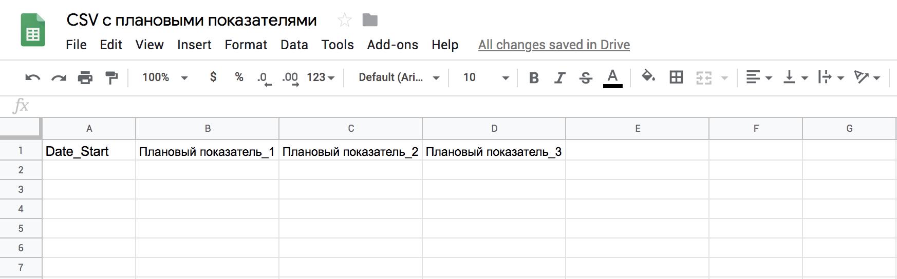 Структура CSV-файла для отчета план/факт за месяц
