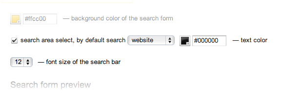 Select from a wide range of colors for your search form.